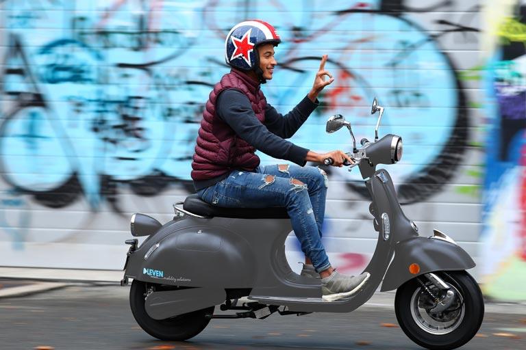 e-ros 80er-Roller Elektro-Scooter mit 65 km/h Höchstgeschwindigkeit E-LEVEN mobility solutions