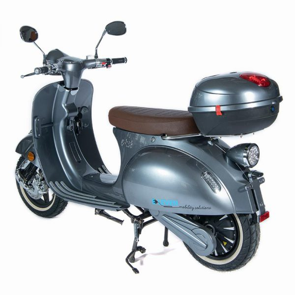 e-ros365 Scooter / Roller grau perspektive-heck mit Topcase – E-LEVEN Mobility Solutions