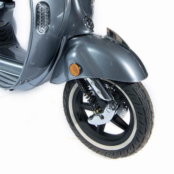 e-ros365 Scooter / Roller grau Federgabel- und Felgen-Detail – E-LEVEN Mobility Solutions