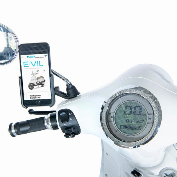 e-vil Performance Scooter weiß / Handy-Halterung für Smartphones - E-LEVEN Mobility Solutions
