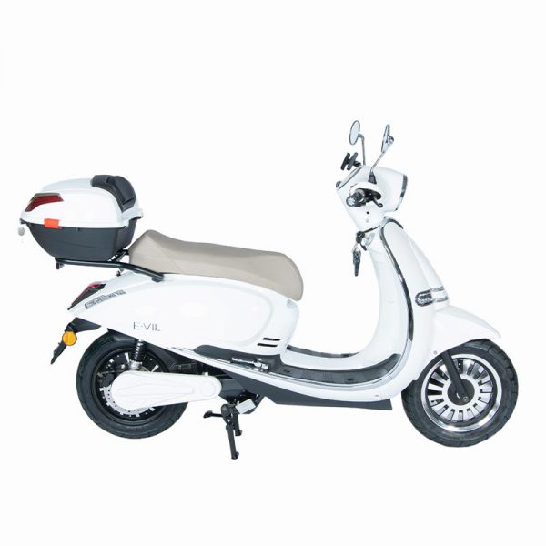e-vil Performance Scooter / Roller weiß / seite mit Topcase - E-LEVEN Mobility Solutions