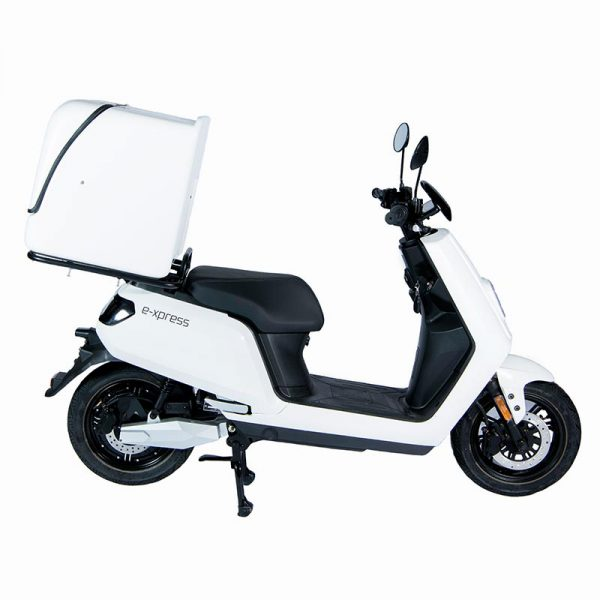 e-xpress Delivery / Liefer Scooter / Roller mit 113-liter-Cargo-Box weiß / seite - E-LEVEN Mobility Solutions