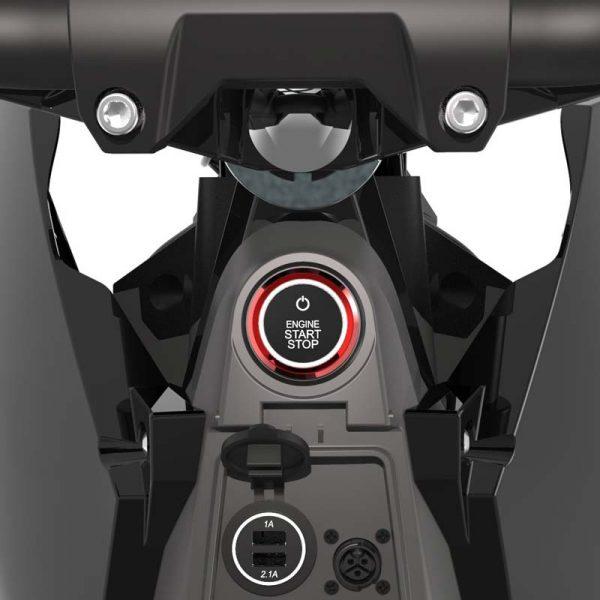 Tinbon Esum ES-1 Elektro-Enduro-Motorrrad Start-Button Lade-Ports E-LEVEN mobility solutions