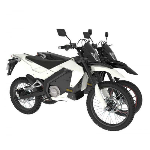 Tinbon Esum ES-1 Elektro-Enduro-Motorrrad Schwarz und Weiß Gelände- und Straßenbereifung E-LEVEN mobility solutions